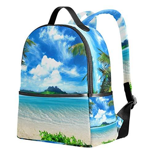 Küste Mädchen (Tenboya Schulrucksack für Mädchen, Tropische Küste, Strand, Palmen, Blauer Himmel, weiße Wolken, Mittelschule, Büchertasche für Frauen)