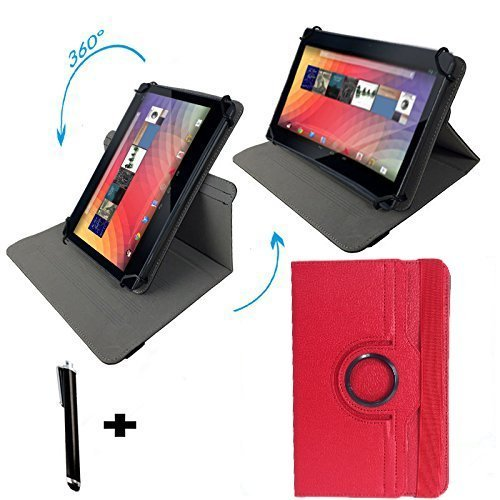 Asus Prosieben Entertainment Pad - Drehbare Tablet Schutzhülle mit Standfunktion – Touch Pen - Rot 8 Zoll 360