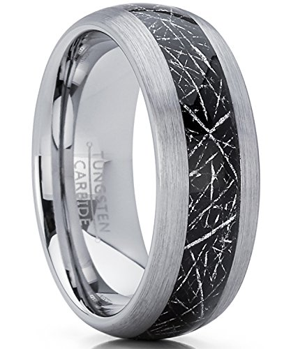 8MM Herren und Damen Wolframcarbid Ring mit Meteorit Einlage Verlobungsringe Trauringe Hochzeitsband Bequemlichkeit Passen Größe 61