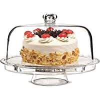 Rammento Multifunctional 5 in 1 Cake Stand and Dome. Wedding Cake Dome, Punch Bowl, Salad Bowl, Chip & Dip Server, Serving Stand, Food Dome