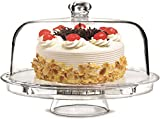 Rammento Multifunctional 5 in 1 Cake Stand and Dome. Wedding Cake Dome, Punch Bowl, Salad Bowl, Chip & Dip Server, Serving Stand, Food Dome by Rammento
