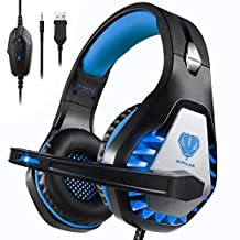 Pacrate Gaming Headset for Xbox One, PS4, PS5, PC, Mac, Laptop with Noise Cancelling Mic - Surround Gaming Headphones - Soft Memory Over Ear PS4 Headset with LED Light for Child, Men, Women