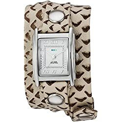 La Mer Collections Damen LMSTW7003 Simple Raptor Print and Silver Wrap Armbanduhr