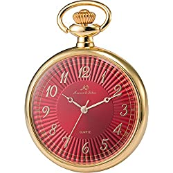 KS Men Women Pocket Watch Open face Series Analog Japanese Quartz Alloy Case Chain KSP056