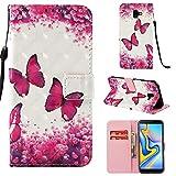 Shinyzone Portefeuille Coque Samsung Galaxy J6 Plus,Papillon Magenta Peinture Colorée 3D Etui en Cuir Style Livre avec Porte-Carte et Fermeture Magnétique Stand Housse