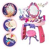 deAO Kinderschminktischset mit Licht-und Soundeffekten, Spiegel, Hocker und viel Zubehör