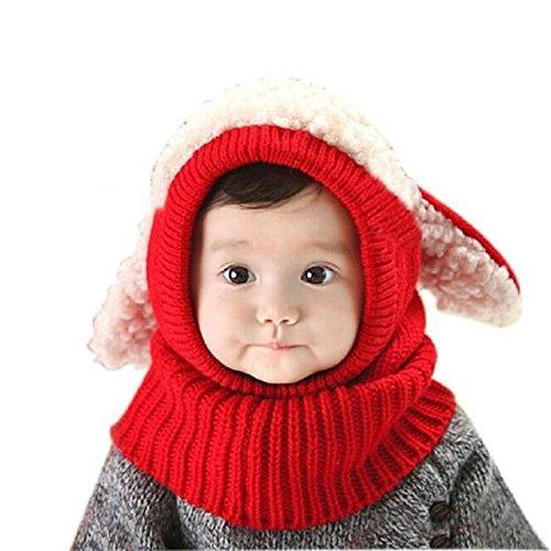 4dff2ef5300 FALAIDUO Baby Kids Girls Boys Warm Woolen Coif Hood Scarf Caps Hats (Red)