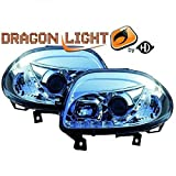 LHD Projector Headlights Pair LED Dragon DRL Lights Clear Chrome Renault Clio II 98-01