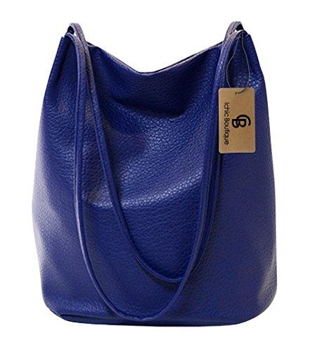Eimer Tasche Damen Handtasche Leder Schultertasche Umhängetaschen Beutel,Blau (Stil Eimer Handtasche)