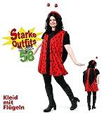 KarnevalsTeufel Marienkäfer Kostüm Kleid große Größen Schwarz-Rot gepunktet - 1tlg. Kleid mit Flügeln (50)