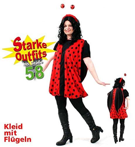 Kleid große Größen Schwarz-Rot gepunktet - 1tlg. Kleid mit Flügeln (54) (Marienkäfer-tanz-kostüm)