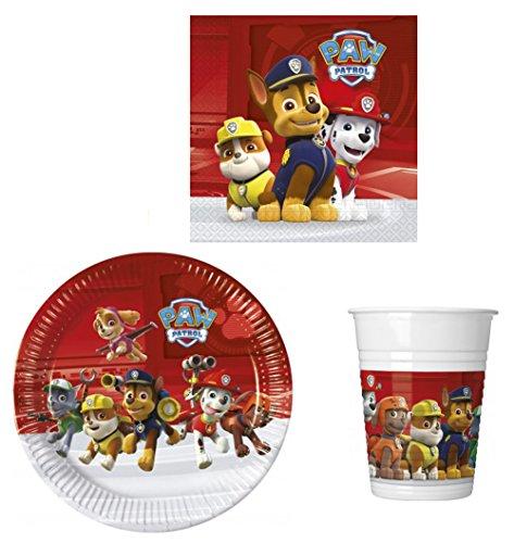 52 Teile Party-Geschirr Set Nickelodeon Paw Patrol Kinder-Geburtstag - Teller Becher Servietten für 16 Personen (Geschirr Party Teller)