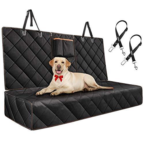 O TOPELEK Hundedecke für Auto Rückbank Kratzfest, Knochen Muster Wasserabweisend, rutschfeste Rückseite, 2 Sicherheitsgurte für PKW/LKW/SUV