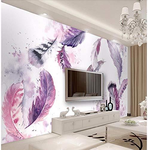 Fototapete 3D Effekt Tapete Handgezeichnete Federn Nordisch Vliestapete 3D Wallpaper Moderne Wanddeko Wandbilder -