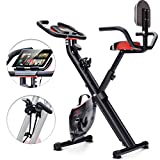 Sportstech Bicicleta estática Plegable F-Bike X100-B Sistema de Resistencia Inteligente,inercia de 4kg, Soporte para Tablet, 8 Niveles de Resistencia magnetica, pulsometro Integrado (con Respaldo)