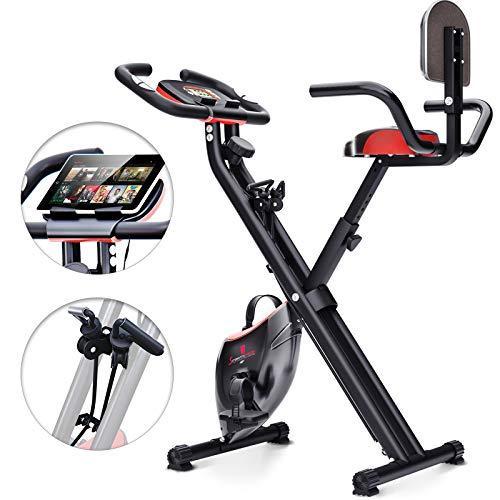 Sportstech X100 Cyclette da Casa Pieghevole F-Bike Sistema Brevettato di Resistenza a Fascia Inerzia 4 kg Schienale Supporto per Tablet Infinita variazione a Doppio Freno Magnetico sensori palmari