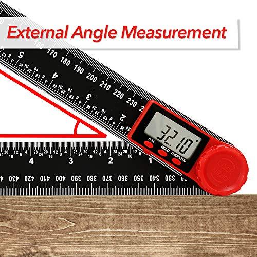 ROEAM 2-in-1-Digitalanzeige Winkelmesser,Winkelsucher Lineal Multifunktionale 360-Grad-Zoll-Lineale mit metrischer Skala Digital Anzeige,Absolute Winkelmessung