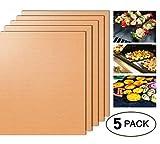 SheShy Grill Matte BBQ Kochmatte Non-Stick Satz von 5 FDA- leicht zu reinigen Backmatte Wiederverwendbare Spülmaschine Safe- 16 X 13 Zoll am besten für Gas, Holzkohle, elektrische Grill -Schwarz