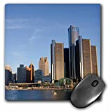 3dRose Michigan, Downtown City Skyline View From the Detroit River Mouse Pad