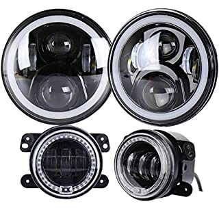ZHUOYUE 1 Satz 7Inch Daymaker Runde LED Scheinwerfer + 4 Zoll LED Nebelscheinwerfer Für 97-2017 Jeep Wrangler JK LJ TJ CJ Sahara Rubicon Freiheit Edition Unlimited Altitude Dragon,Model2