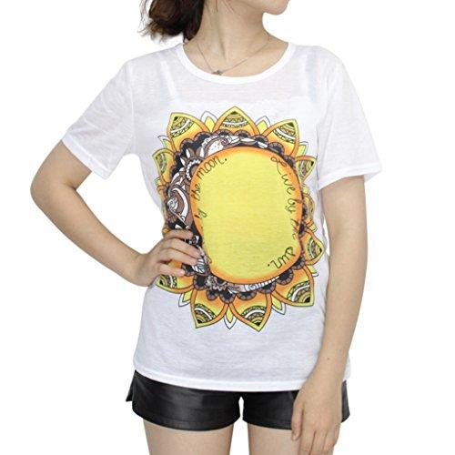 BienBien T Shirt Imprimé Femme Chemise Manche Courte Lettre Tops Tunique Casual Blouse Ete Modèle 04