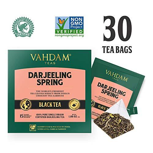 Primo tè Darjeeling a filo con foglie, 15 bustine di tè (confezione da 2) - bustine di tè piramide con foglie lunghe. Tè Darjeeling con il primo arrosto puro al 100%, dall'India