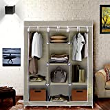 Klaxon Foldable Closet - Wardrobe Cabinet - Portable Multipurpose Clothes Closet - Portable Wardrobe Storage Organizer With Shelves - Brown