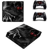 DOTBUY Ps4 Slim Playstation 4 Slim Consola Design Foils Vinyl Skin Sticker Decal Pegatina And 2 Dualshock Controlador Skins Set (Red Eye Skull)