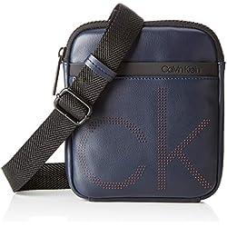 Calvin Klein Ck Up Mini Flat Crossover, Sacs portés épaule homme, Noir (Navy), 3x20x18 cm (B x H T)
