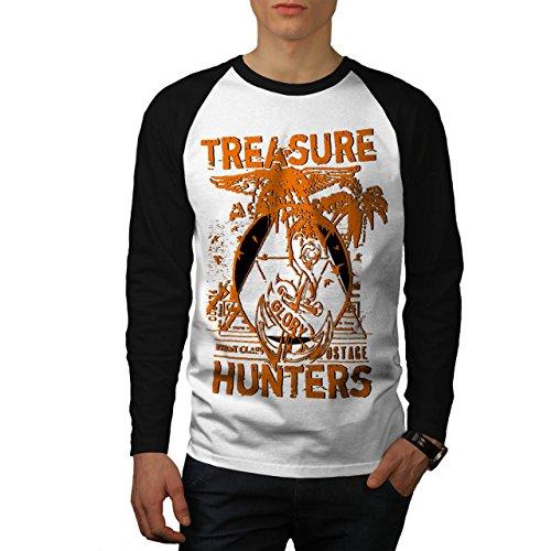 Schatz Jäger Gang Ruhm Leben Herren NEU Weiß (Schwarz Ärmel) XL Baseball lange Ärmel T-Shirt | Wellcoda (Schatz Jäger Kostüme)