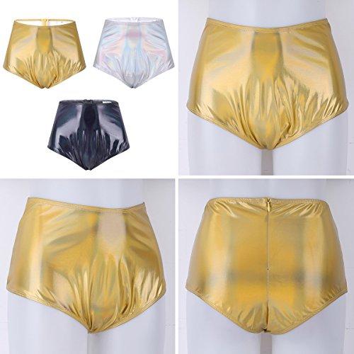 Agoky Womens Metallic High Waist Booty Shorts Rave Dance Hot Pants Bikini Briefs Night Clubwear