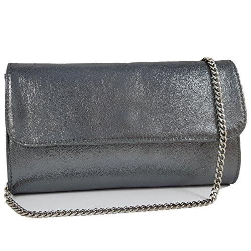 Freyday Echtleder Damen Clutch Tasche Abendtasche Muster Metallic 25x15cm (Anthrazit Metallic)