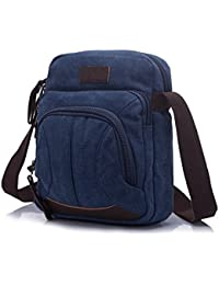Small Vintage Canvas Crossbody Leather Messenger Sling Bag For Men Women Blue By Genold