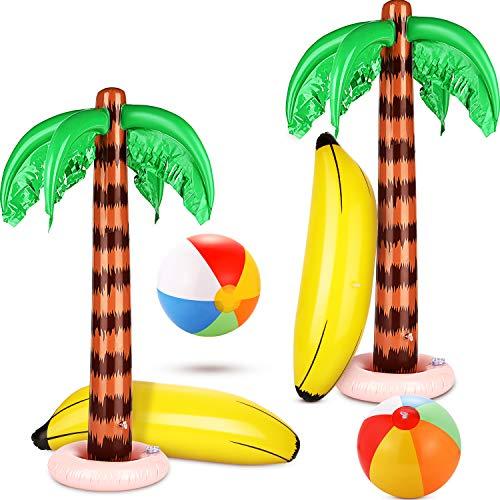 6 pezzi palme gonfiabili alberi di cocco colorati palloni da spiaggia colore arcobaleno banane gonfiabili della spiaggia delle palle per decorazione del contesto di luau della spiaggia delle hawaii