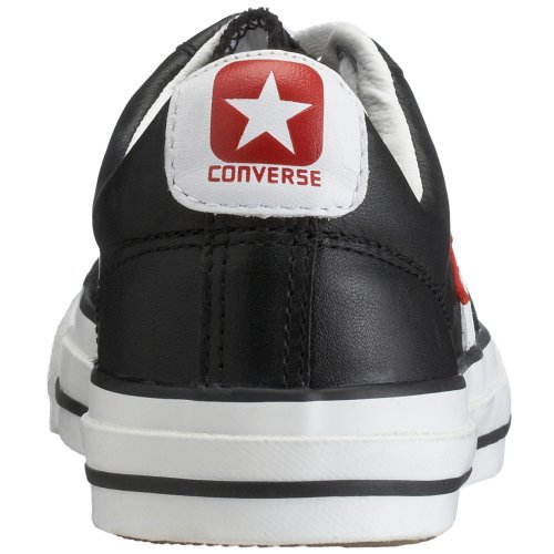 Converse Unisex – Adulto Leather scarpe sportive Nero / Bianco / Rosso