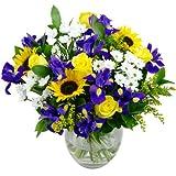 Clare Florist Springtime Daze Fresh Flower Bouquet - Assortment of Sunflowers, Roses and Chrysanthemums