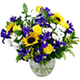 Clare Florist Springtime Daze Fresh Flower Bouquet - Assortment of Sunflowers, Roses and Chrysanthemums