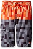 Grands Garçons Champion Engineered Imprimer Swim Short, Orange/Gris, grande