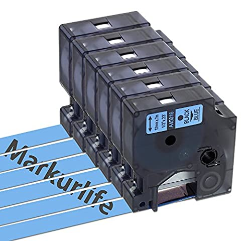 Markurlife 6 packs Label Tapes Compatible with Dymo D1 45016 Black on Blue 12mm Wide and 7m Long (1/2'' W x 23' L) Label Cassette for DYMO LabelManager 100 120P 150 160 200 210D 220P 260P 280 300 350 350D 360D 400 420P 450 450D 500TS PC PC II PnP DYMO LabelPoint 100 150 200 250 300 350 DYMO LabelWriter 400 Duo 450