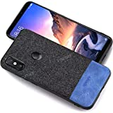 Fortify Premium Soft Fabric Hybrid Protective Back Cover Case For Xiaomi Redmi Note 6 Pro/Mi Note 6 Pro (Fabric/Leather-Fabric Series, Black & Blue)