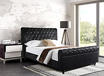 Crushed Velvet Fabric Upholstered Bed Frame 4ft6inch, Double New 2016 In Black produced by Bedzonline - quick delivery from UK.