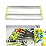 #9: Stainless Steel Kitchen Sink Crockery Vegetable Wash Utensils Drain Rack 19 inch - Random Color