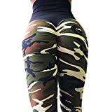 QINPIN Rückseite Tarnfarbe faltet Yoga-Hosen der Frauen Armeegrün M