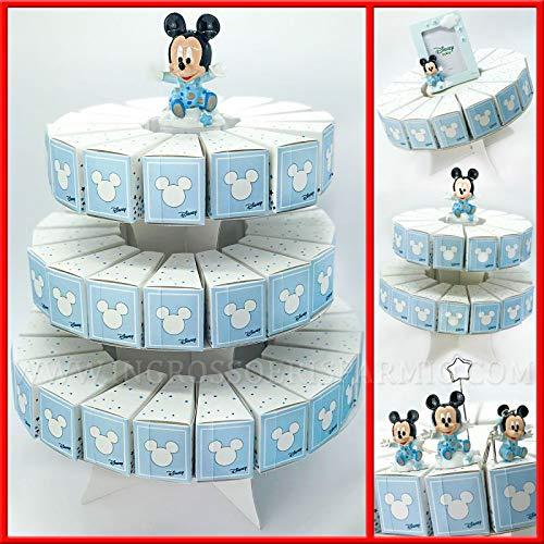 Struttura torta in cartoncino con fette portaconfetti Disney Topolino bianche e celesti bomboniere fai da te nascita compleanno bambino (3 Piani - 53 Fette - con confetti celesti)