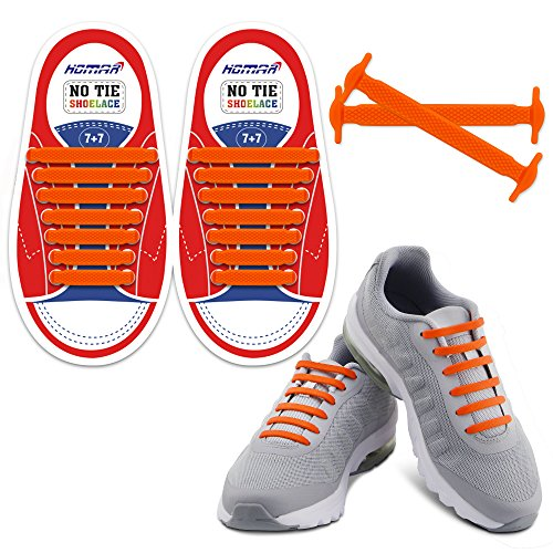 Homar No Tie Lacci per scarpe per bambini e adulti - Impermeabile in silicone elastico piatto Laces Athletic scarpa da corsa con multicolore per Scarpe Sneakerboots bordo e scarpe casual (Kid Size Orange)