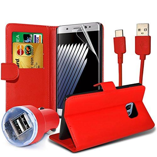 FONETIC Lösungen ® Google Pixel XL stoßfest Flip Carbon Gel Fällen Bezüge mit Premium Qualität Crystal Clear LCD Displayschutzfolie Guard 4-in-1 Value pack (Red)