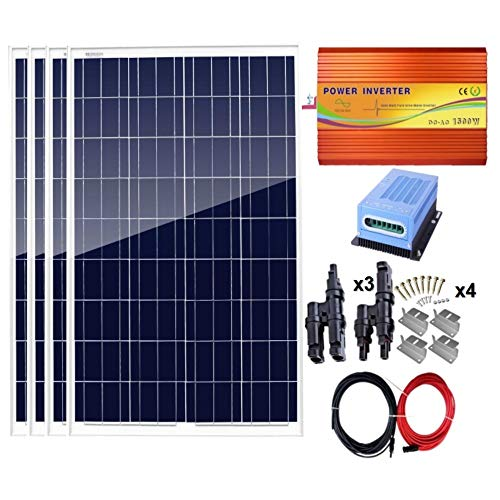 AUECOOR 400 Watt Off-Gitter-Solarpanel-Set, 4 Stück 100 W polykristallines Solarpanel + 40 A MPPT Laderegler + 1500 W Inverter für Zuhause Haushalt Batteriesystem