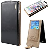 Honest Quality Quality Iphone 5 5G 5S Black Leather Flip Case Cover with Two Card Slot