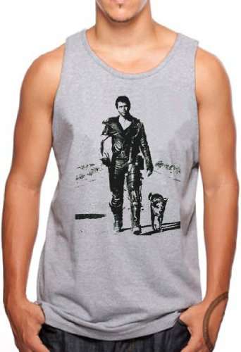 OM3® - MAD MAX - Tank Top Hollywood Action SciFi Road Crash Cult Movie Music USA, M, Grau Meliert