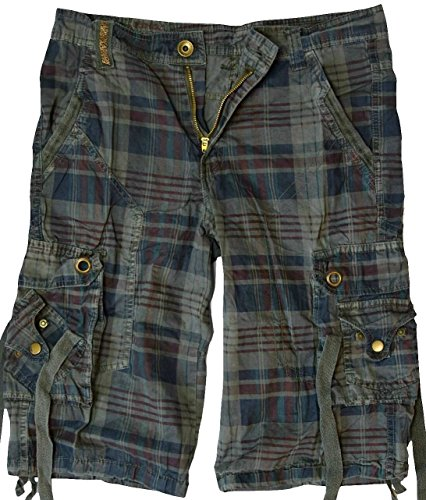 Blau Karierte Cargo-shorts (Herren Cargo Bermuda Shorts Vintage kurze Hose Kariert in verschiedenen Farben, Grau-Blau, 30)